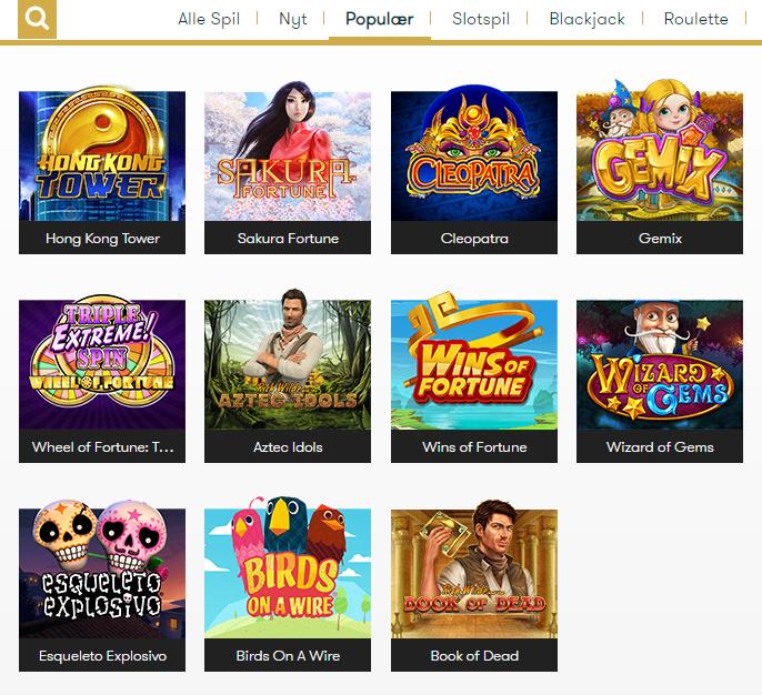 intercasino populære spil