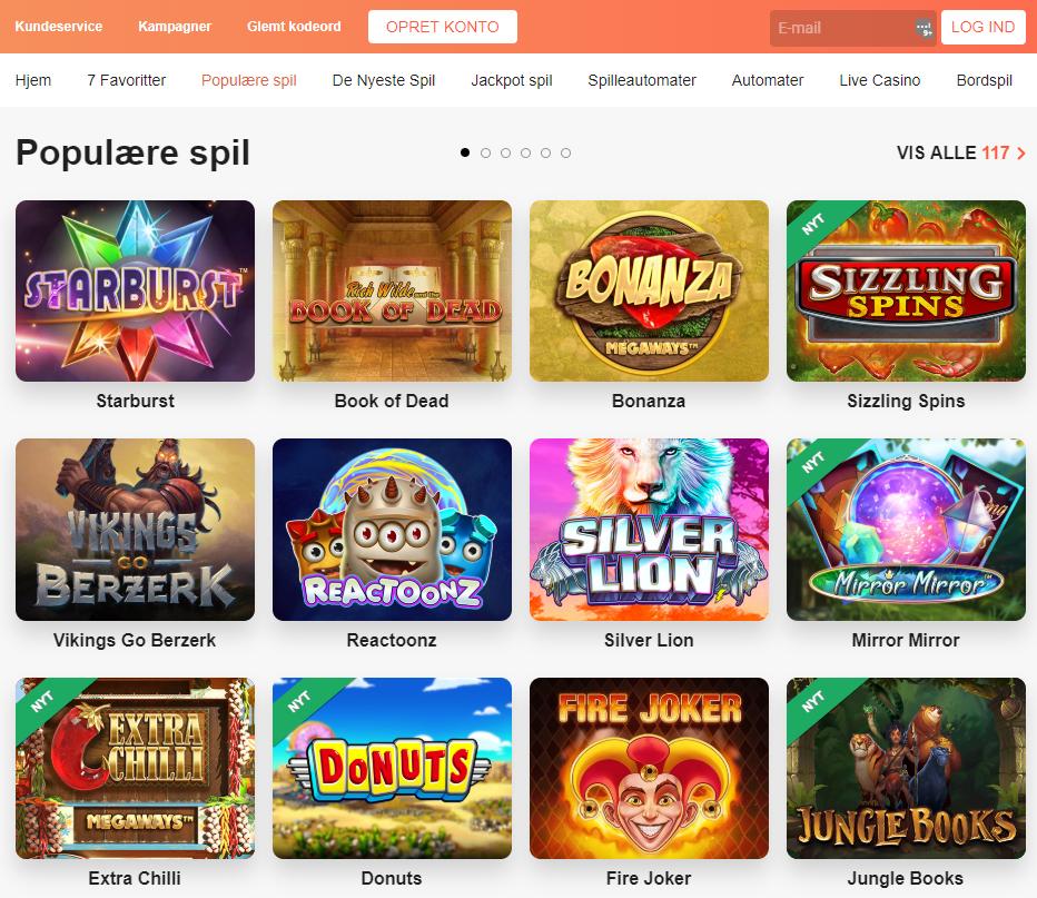 leovegas populære casino spil
