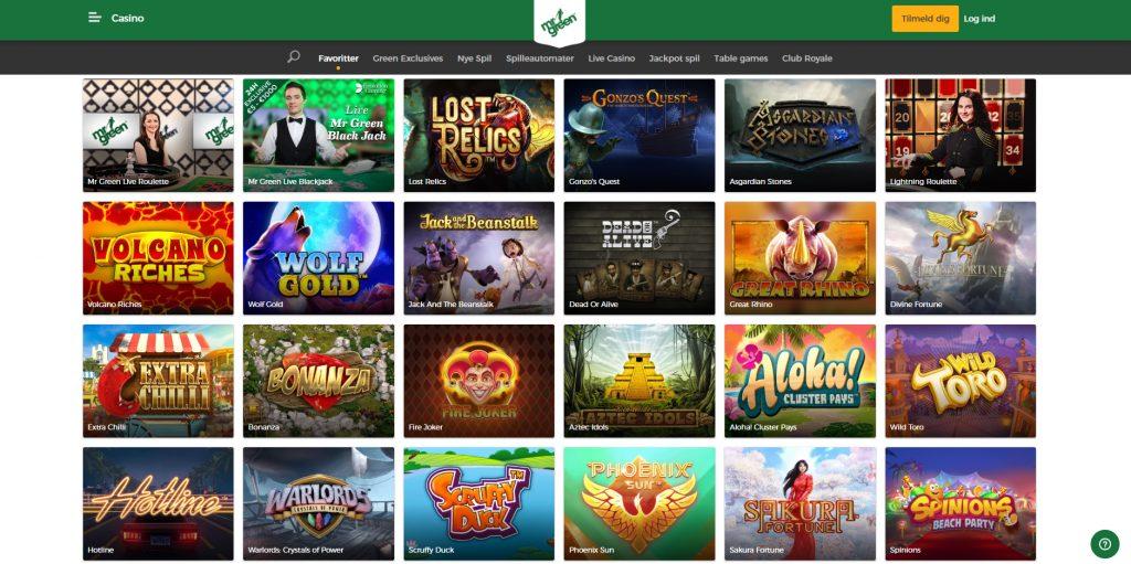 mr green populære spil